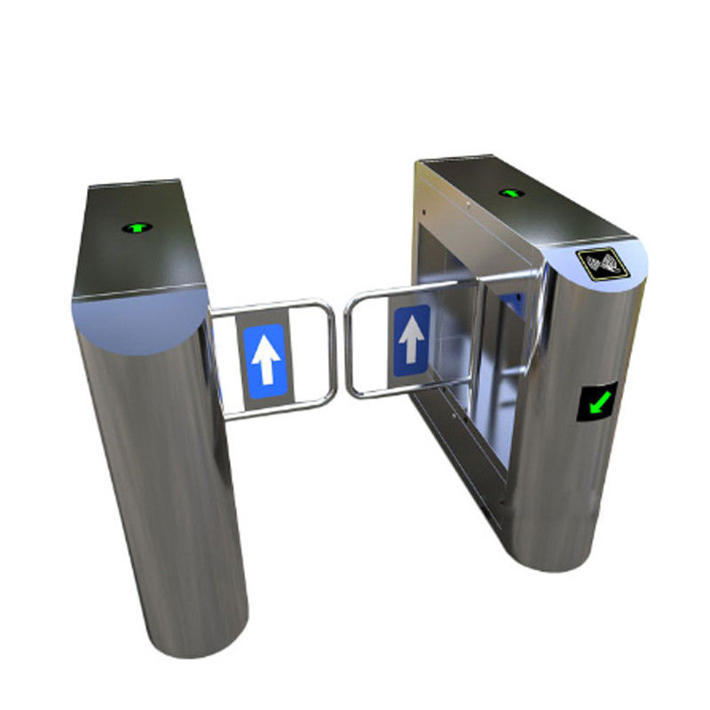 Bank Swing Barrier Automatic Turnstiles RFID Swing Glass Gate For Access Control System